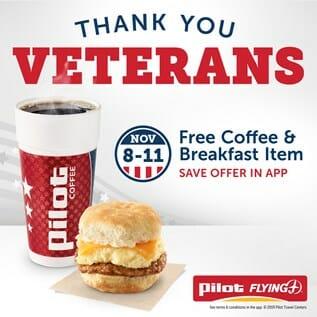 Pilot FLying J Free Breakfast for Veterans